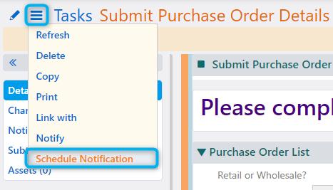 Schedule Notification   Comidor Platform