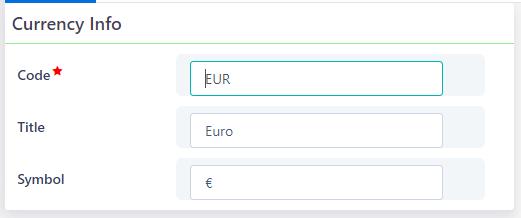 Currencies | Comidor Platform