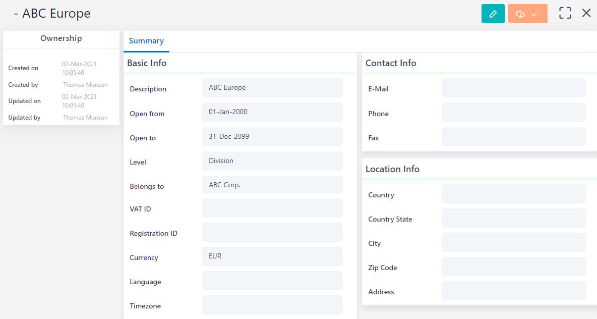 Business Setup Division | Comidor Platform
