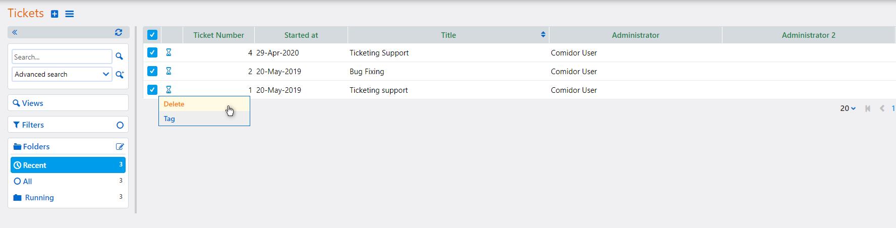 Multiple Ticket actions   Comidor Platform
