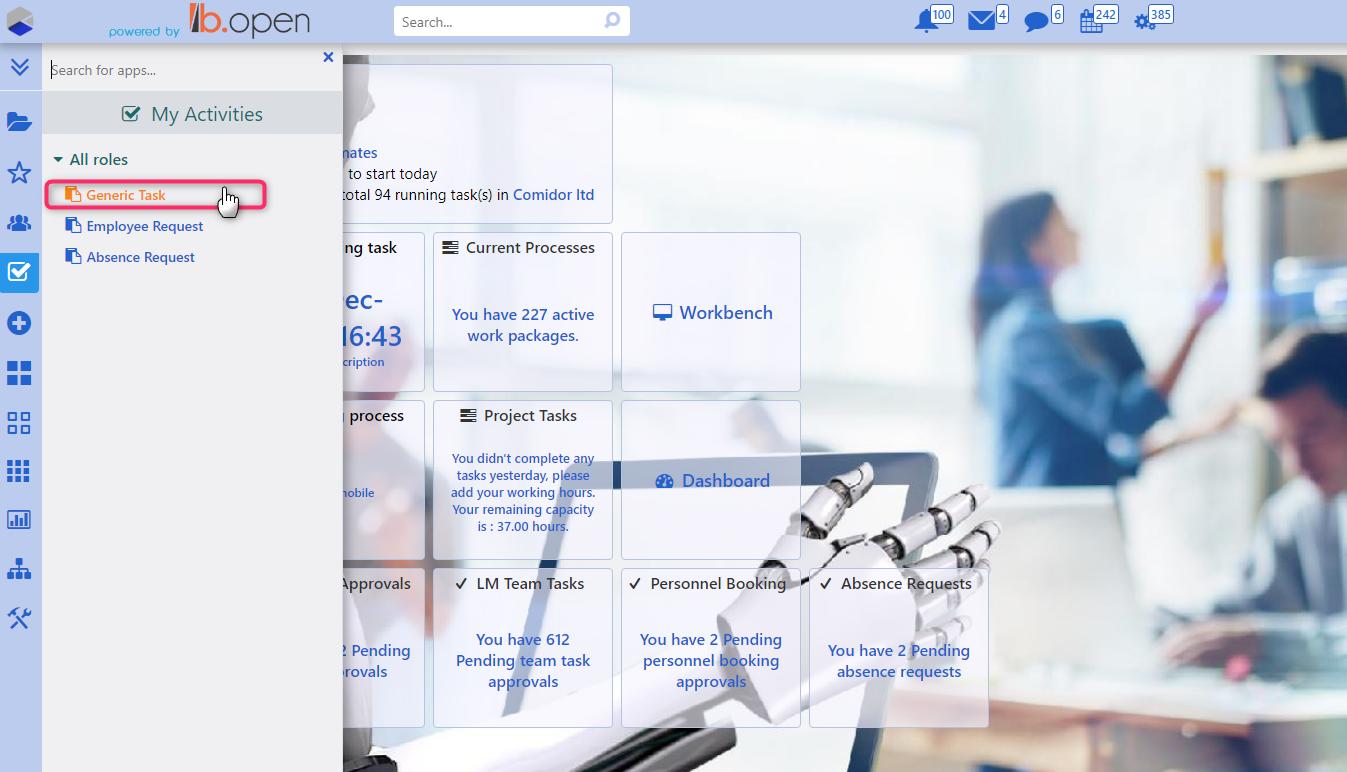 create task from activities | Comidor Platform