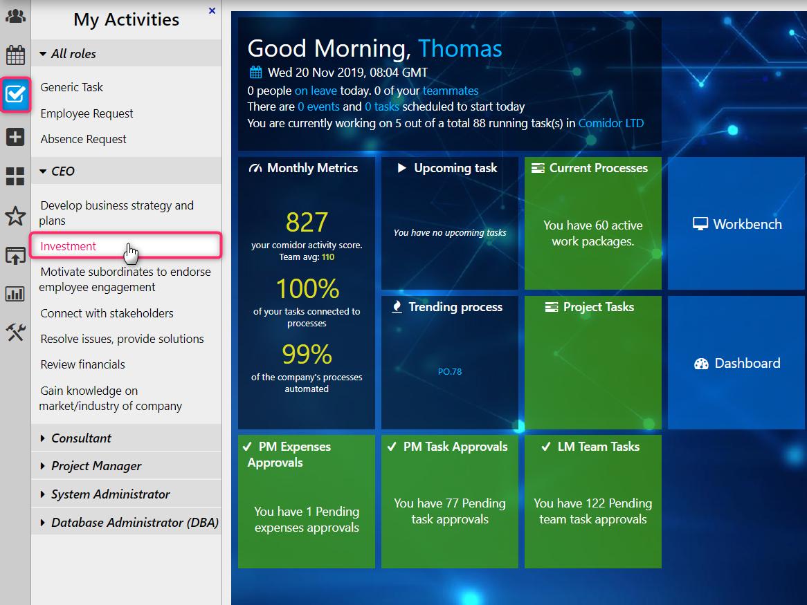 My activities | Comidor Digital Automation Platform