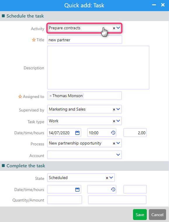 quick add task | Comidor Platform