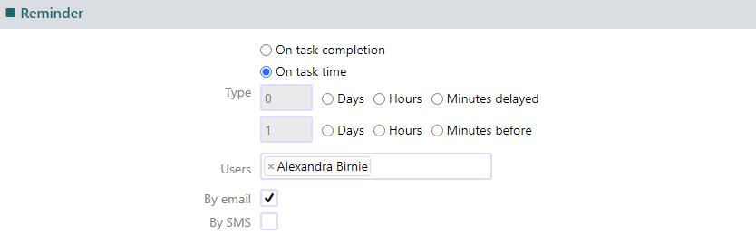 task reminder | Comidor Platform