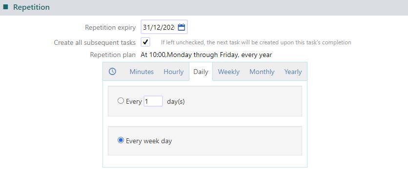 task repetition | Comidor Platform