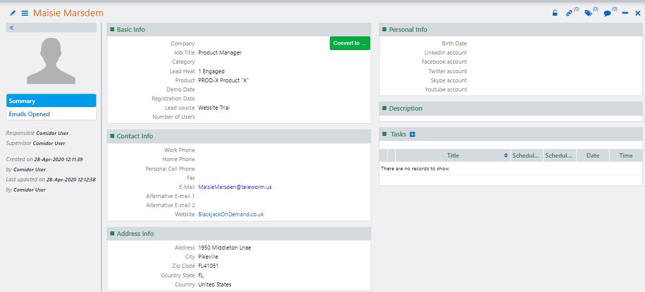 view a lead | Comidor Platform