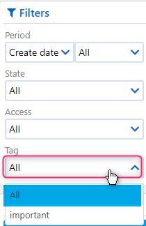 tags filters | Comidor Platform