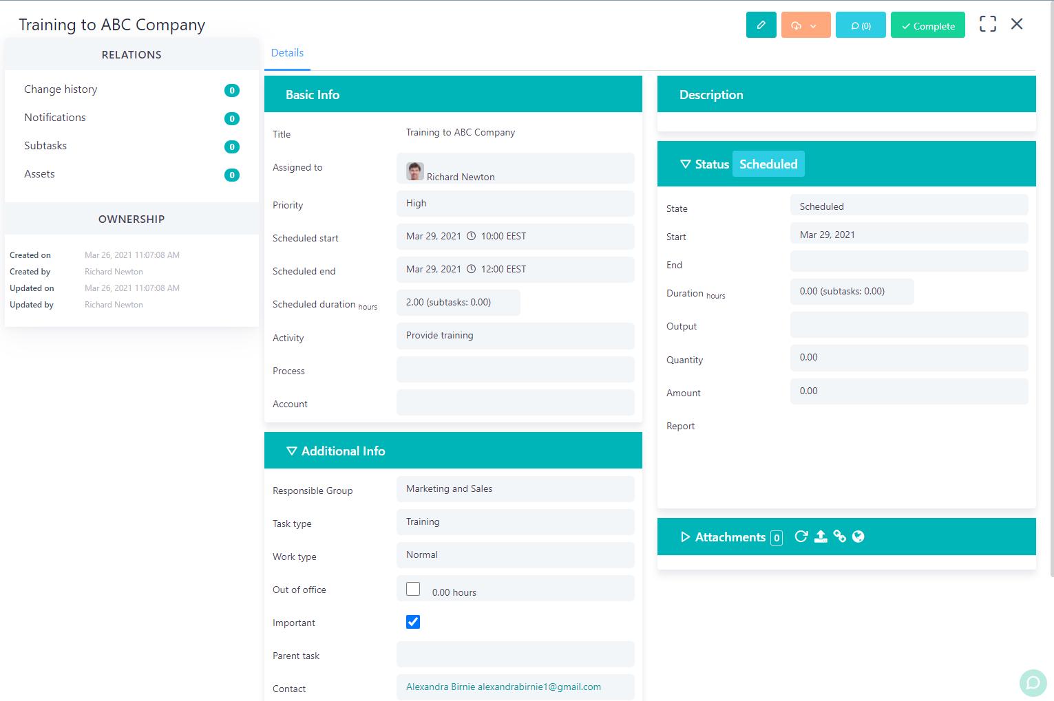 view a task v.6| Comidor Platform