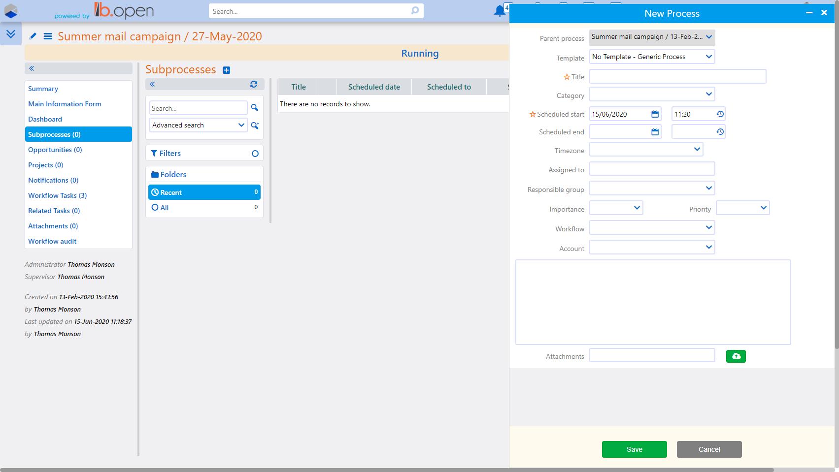 Subprocesses | Comidor Platform