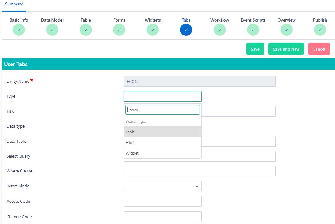 App builder tabs | Comidor Platform