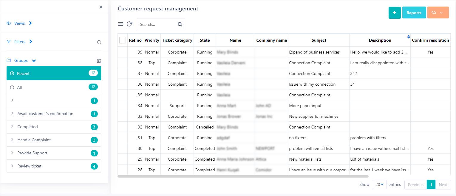 App summary table | Comidor Platform