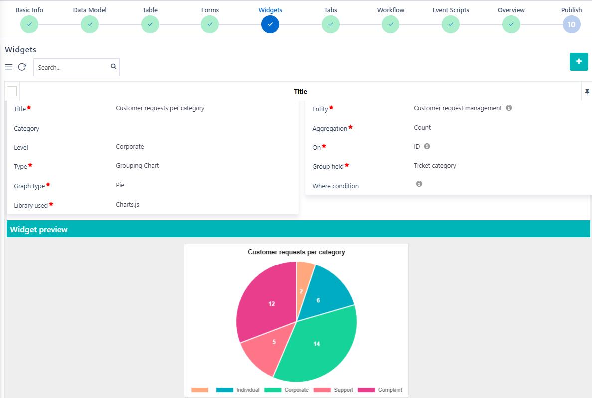 App builder widgets | Comidor Platform