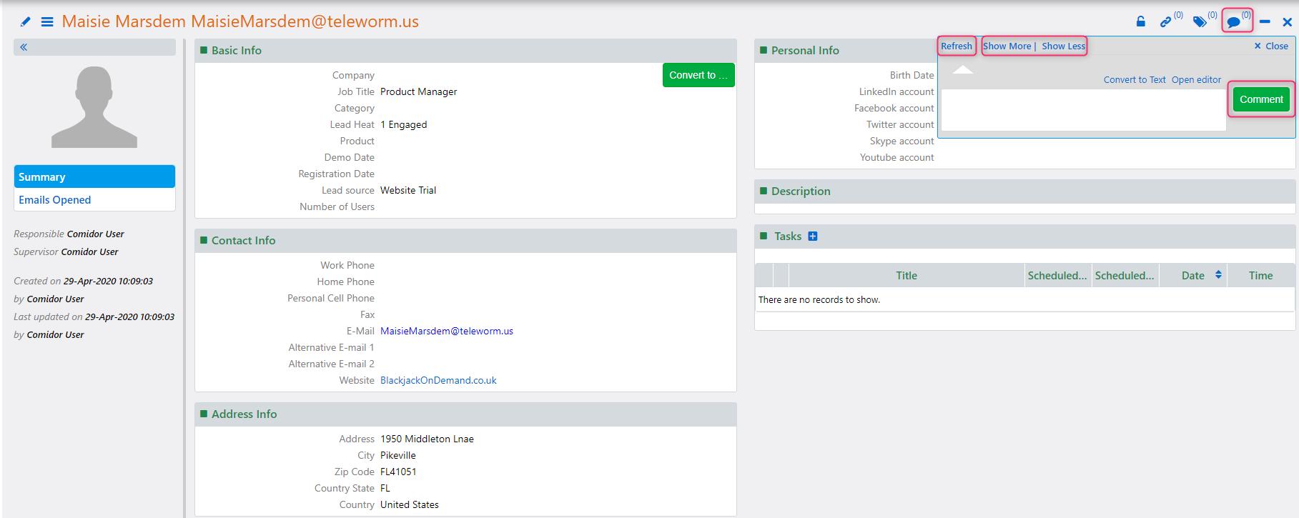 Comments | Comidor Platform