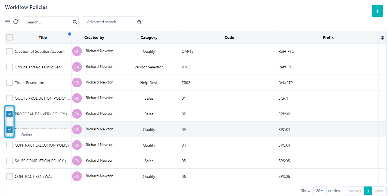 manage workflow policy | Comidor Platform