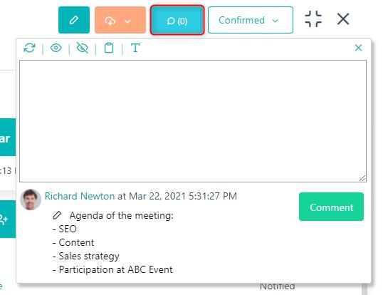 Add Comment - Event v.6  Comidor Platform