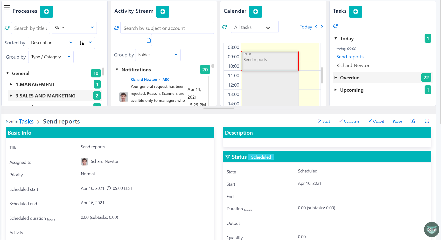 calendar - task v.6| Comidor Platform