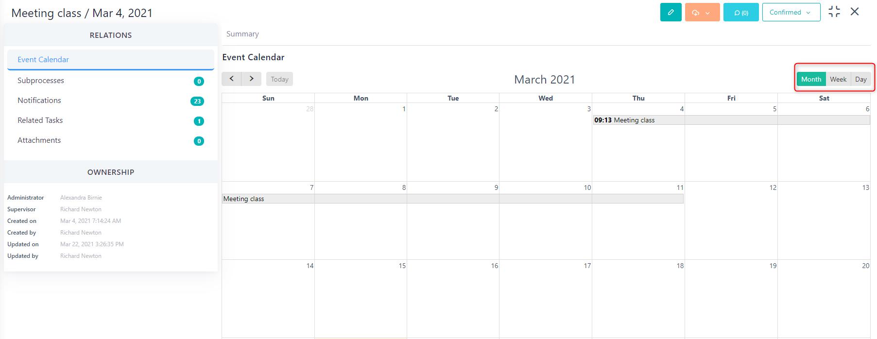Event calendar v.6  Comidor Platform