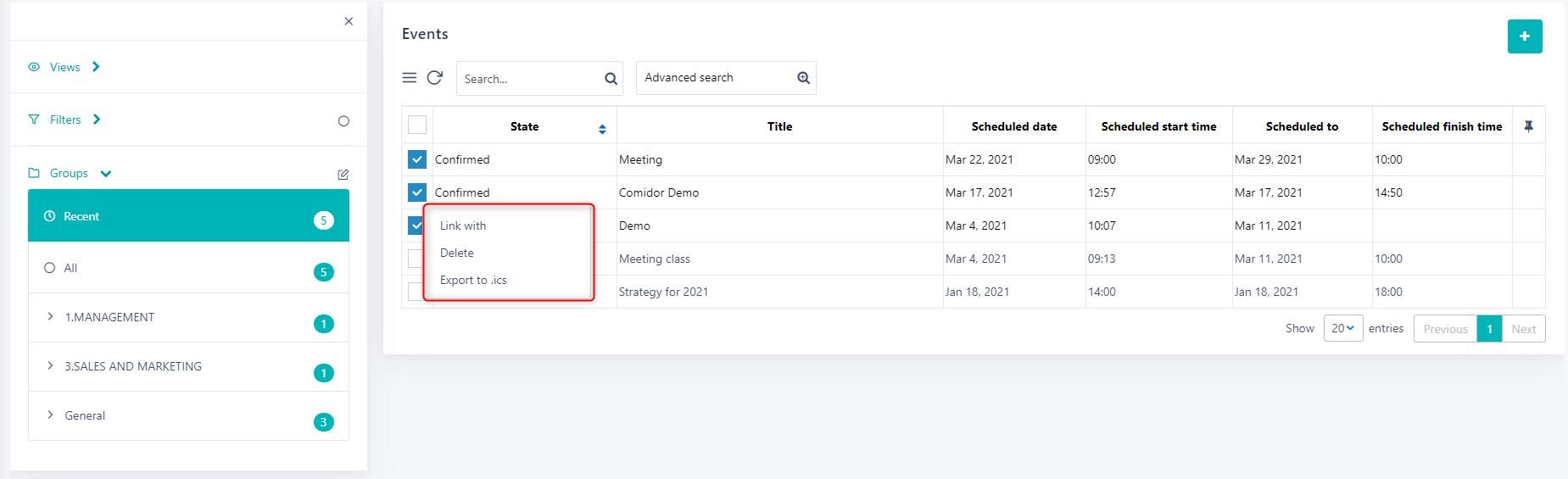 Manage multiple events v.6  Comidor Platform