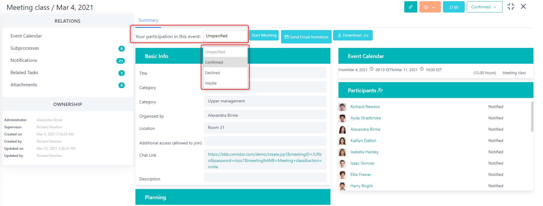 Event participation v.6  Comidor Platform