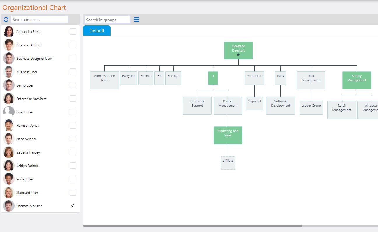 View Search a User | Comidor Platform