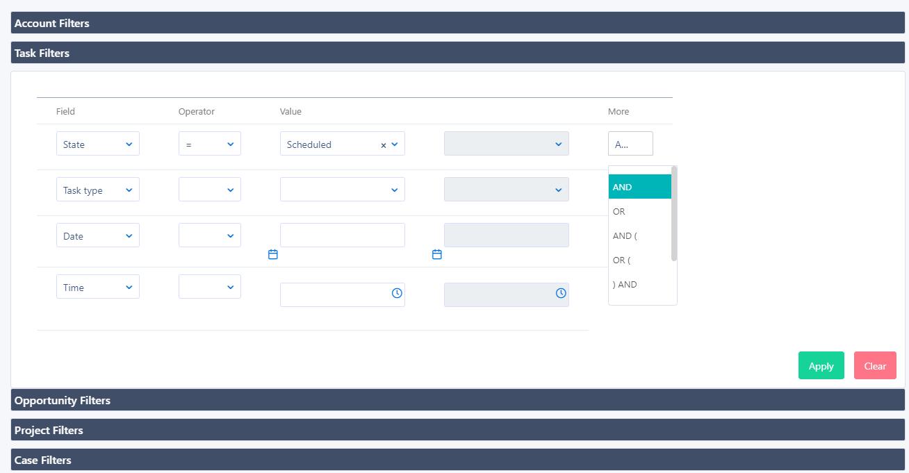 account filters   Comidor Platform