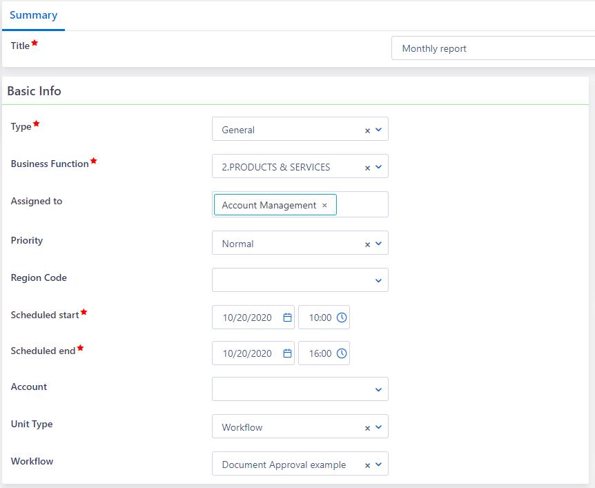 Process Scheduling creation   Comidor Platform