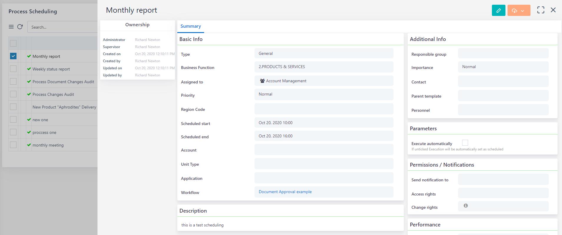 Process Scheduling view  Comidor Platform