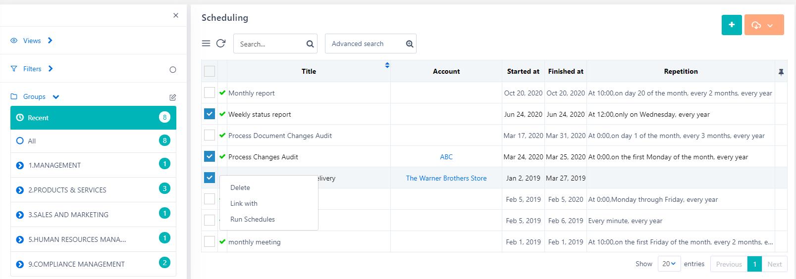 Scheduling actions   Comidor Platform