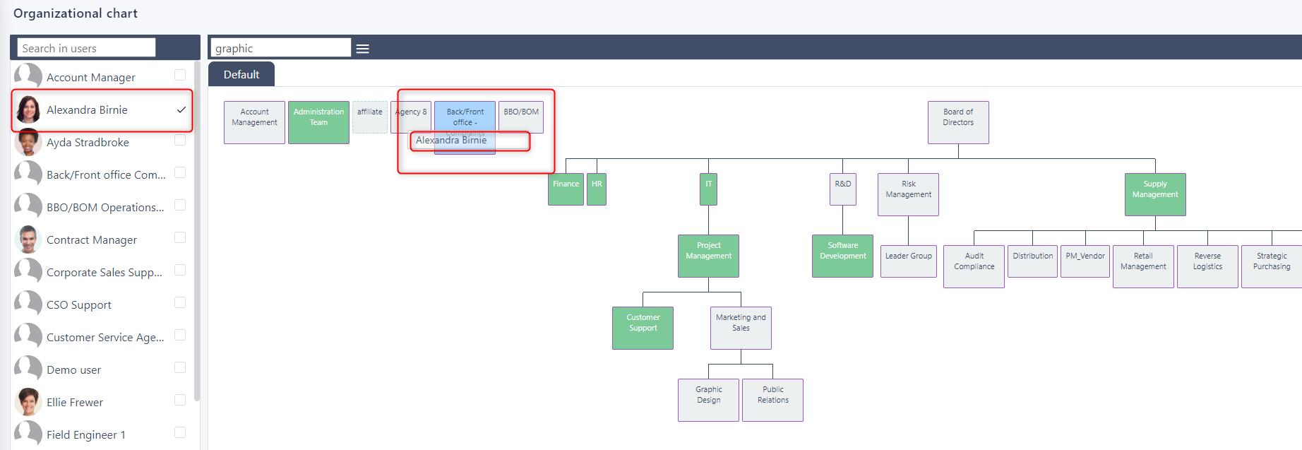 drag and drop org chart v.6| Comidor Platform