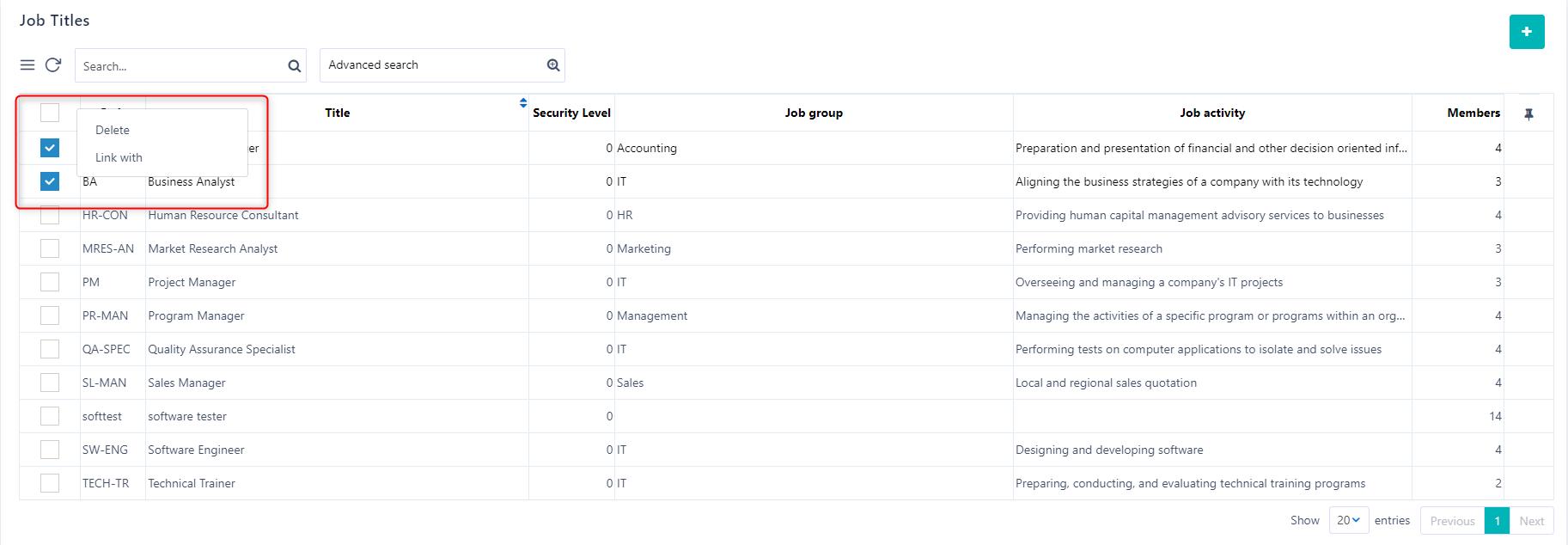 manage job titles v.6  Comidor Platform