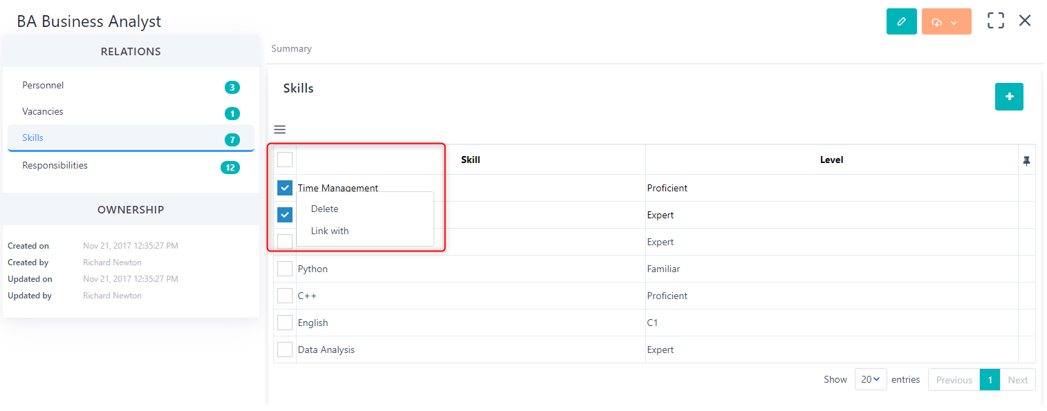manage skills v.6  Comidor Platform