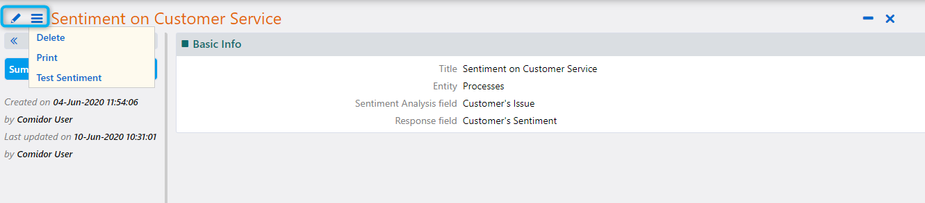 Sentiment Analysis | Comidor Platform