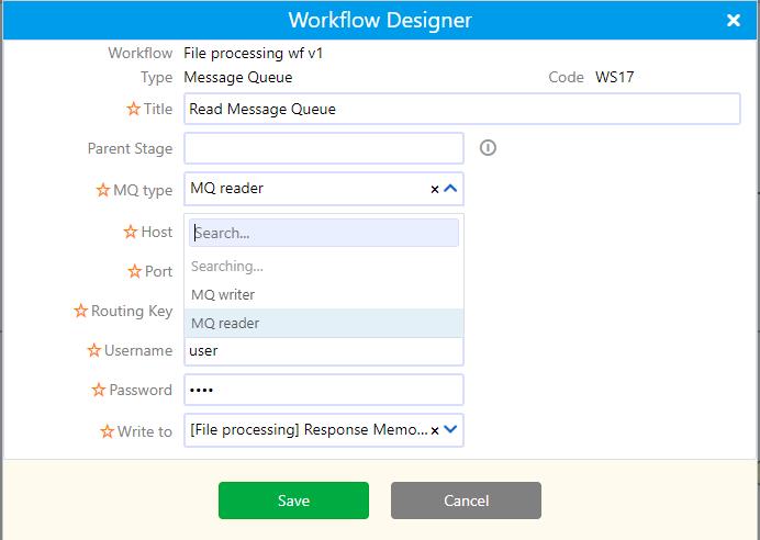Workflow element MQ | Comidor Platform