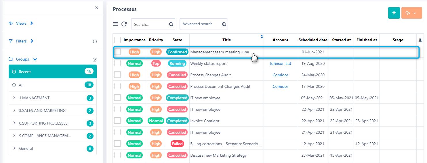 Processes | Comidor Platform