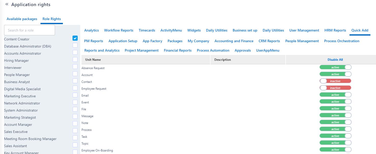 Application Rights | Comidor Platform