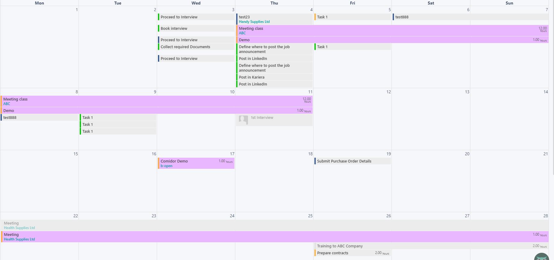 Calendar - Colours v.6| Comidor Platform