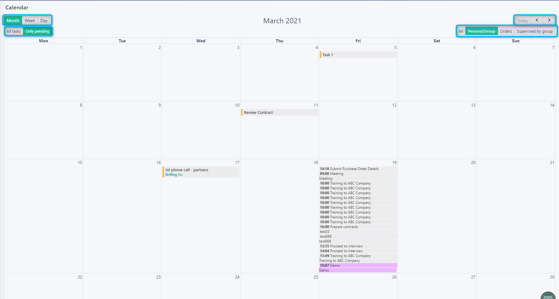 Calendar view v.6| Comidor Platform