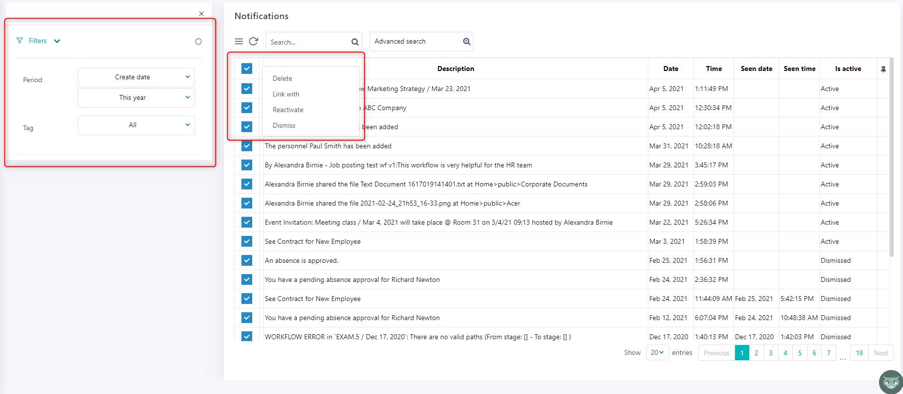 Previous notifications v.6| Comidor Platform