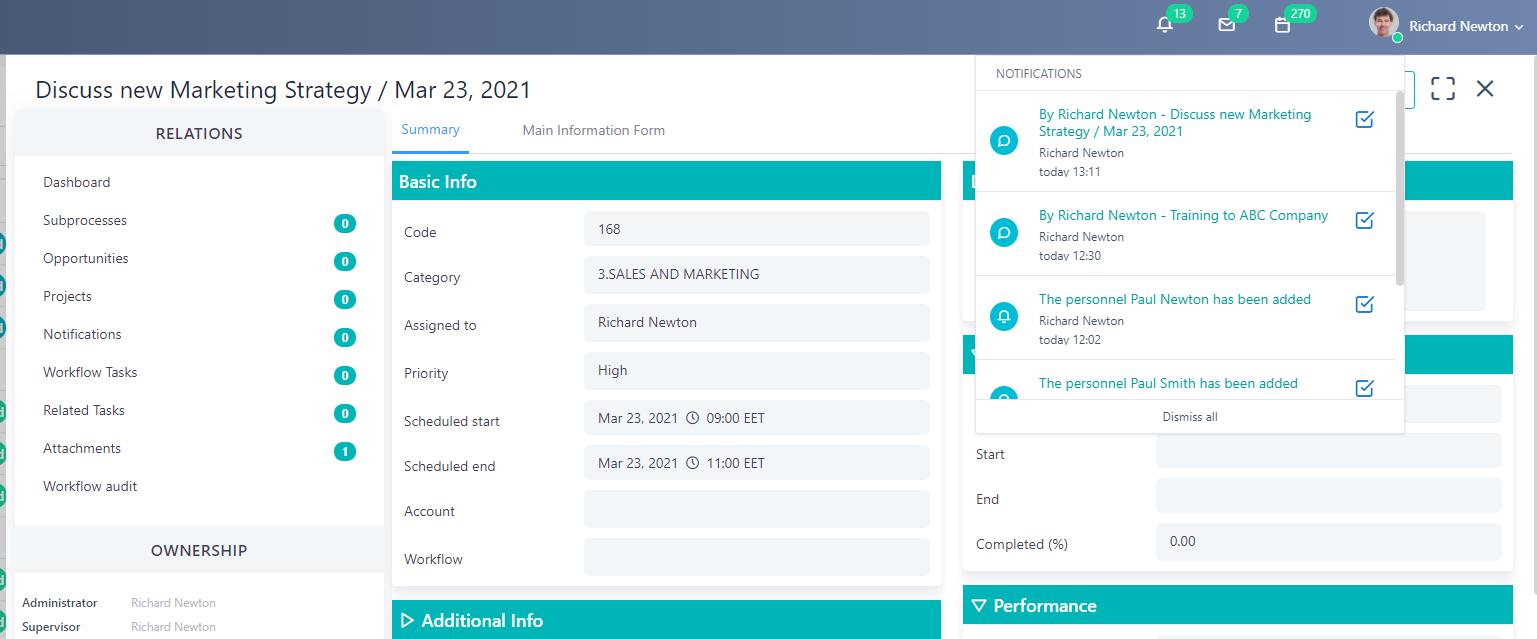 notification - processes v.6| Comidor Platform