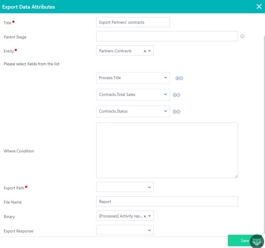 Workflow export data | Comidor Platform
