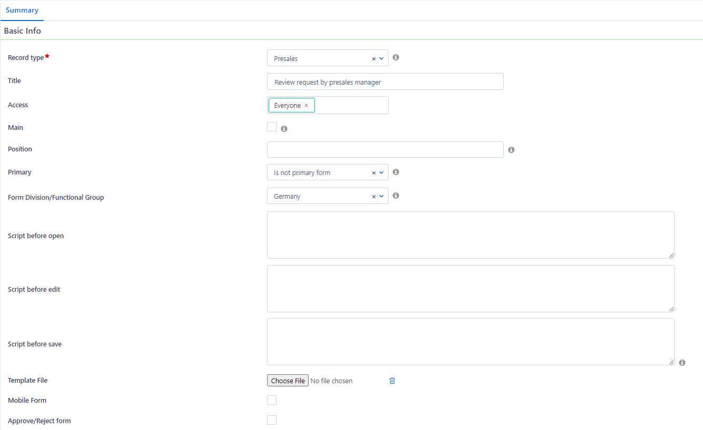 User Forms | Comidor Platform
