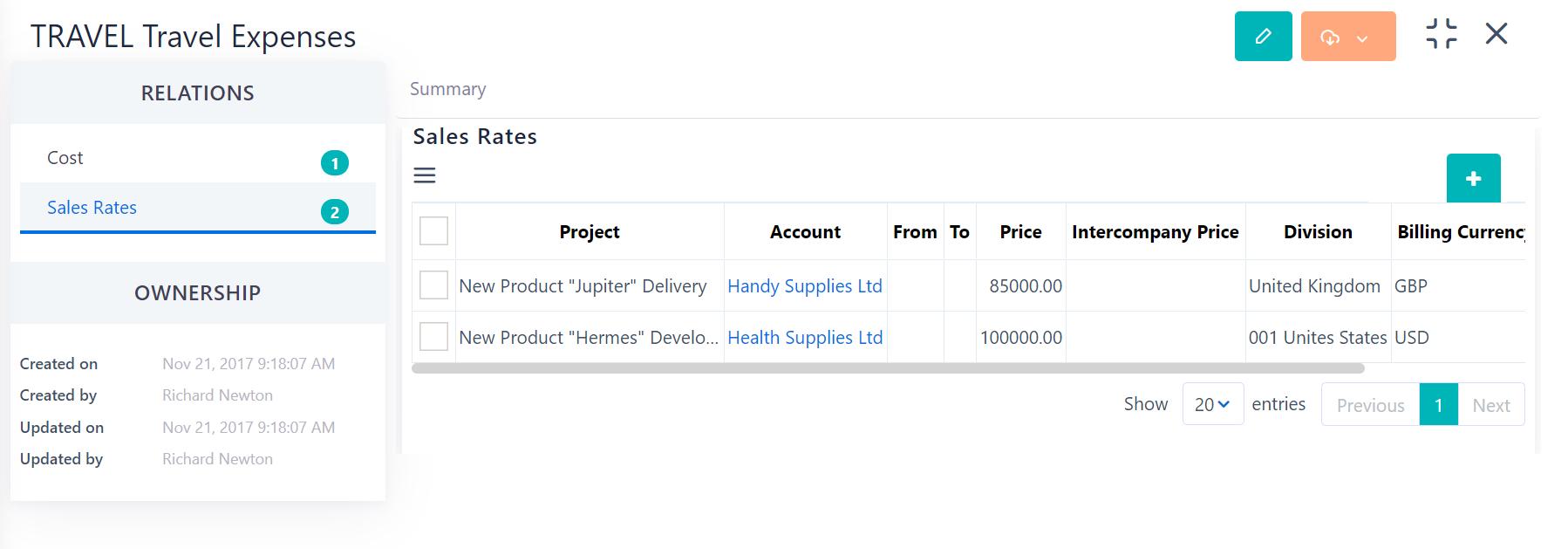 Sales Rate - products& services v.6| Comidor Platform