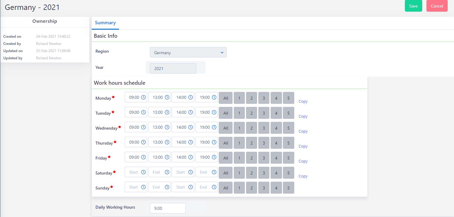 work hours schedule | Comidor Platform