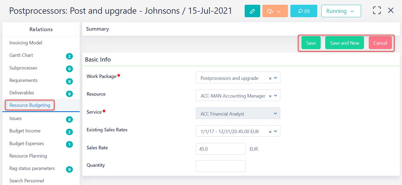 Add new resource budgeting v.6.0   Comidor Platform