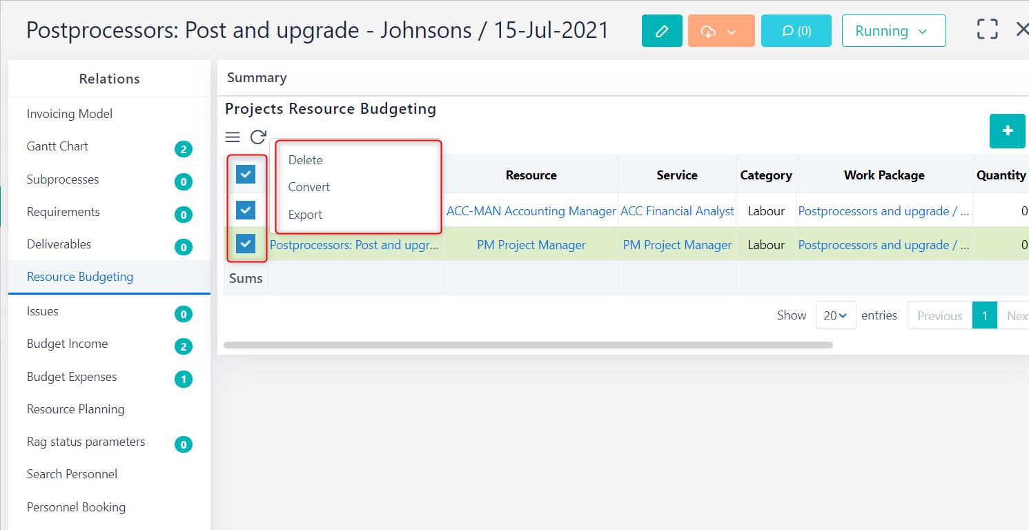 Manage resource budgeting v.6.0   Comidor Platform