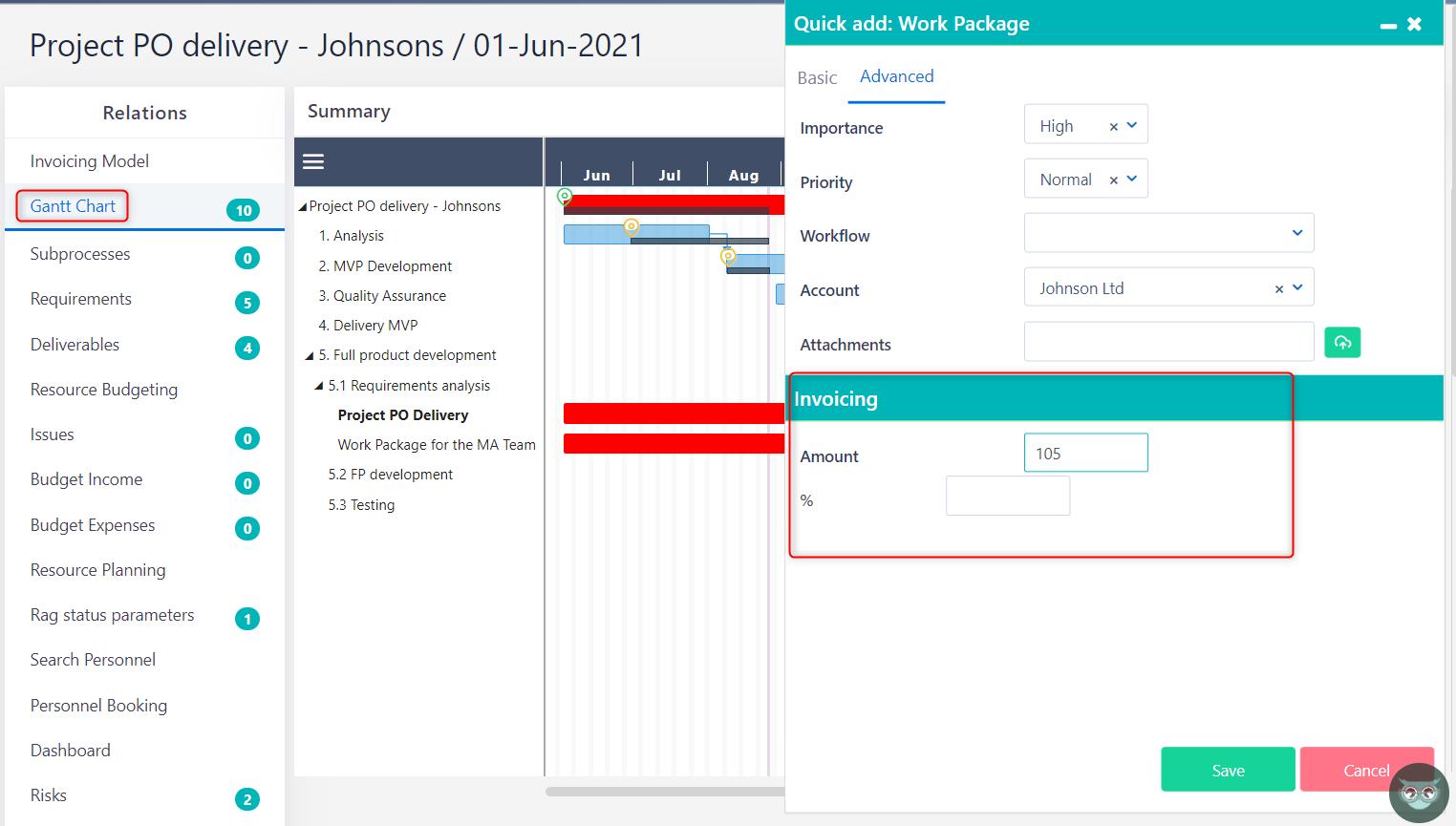 gantt chart v.6.0   Comidor Platform