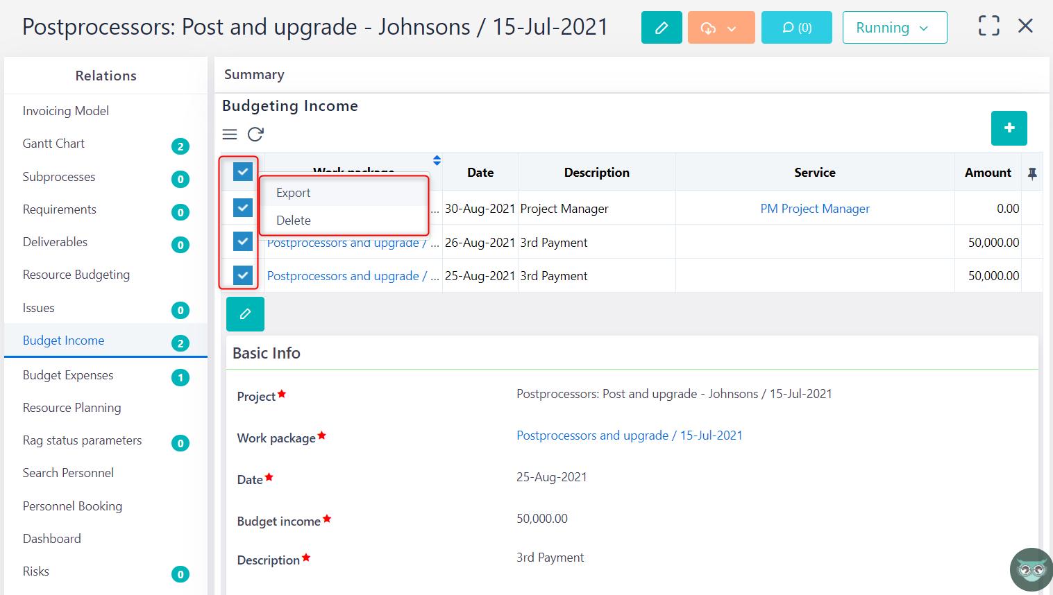 manage budget income v.6.0   Comidor Platform